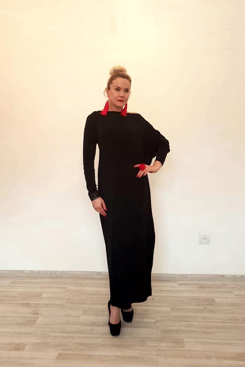 Платье трикотажное с длинными рукавами ассиметричное - фото 2