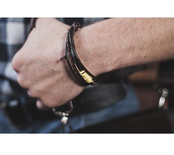 """Браслет мужской """"Сила"""" плетение, цвет коричневый   1501540"""