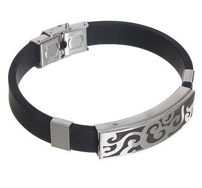 """Браслет мужской """"Мощь"""" прямоугольник с косичкой, цвет чёрный в серебре 1506851"""