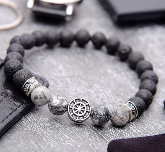 """Браслет мужской """"Бастион"""" якорь, цвет чёрно-серый в серебре   3925327"""