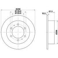 Тормозные диски SsangYong Musso (задние, Veka)
