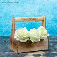 Кашпо флористическое, обожженое, с ручкой, 20х20х12,5см