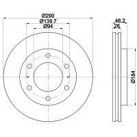 Тормозные диски Mitsubishi Pajero (00-.., передние, Optimal), фото 1