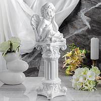 """Сувенир """"Задумчивый ангел на колонне"""" белый, фото 1"""