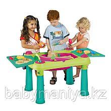 Столик KETER CREATIVE для детского творчества и игры с водой и песком, Зеленый/Фиолетовый (79x56x50h)