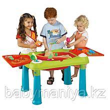 Столик KETER CREATIVE для детского творчества и игры с водой и песком, Бирюзовый/Красный (79x56x50h)