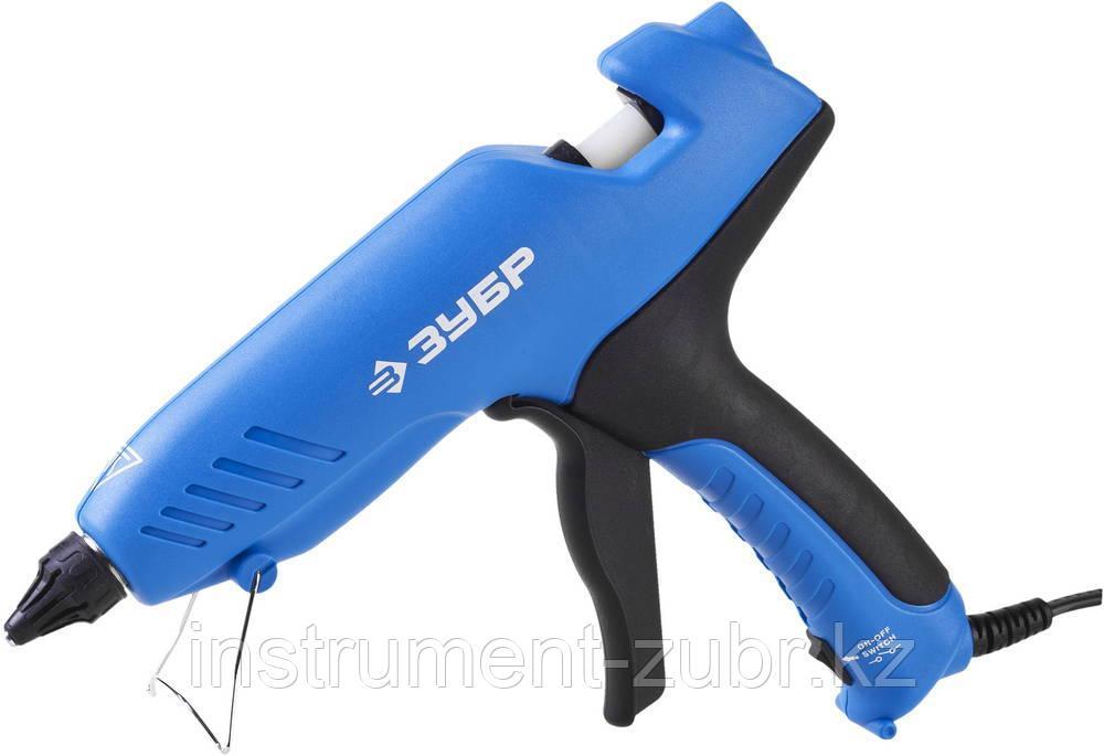 Пистолет ЗУБР клеевой (термоклеящий), эл, эргоном рукоятка, выключатель на рукоятке, d=12мм, 100Вт