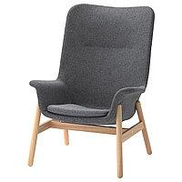 Кресло c высокой спинкой ВЕДБУ темно-серый ИКЕА, IKEA