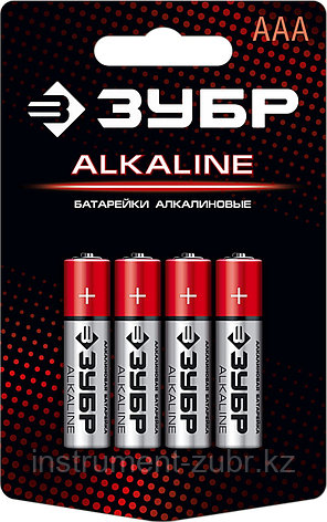 Щелочная батарейка 1.5 В, тип ААА, 4 шт, ЗУБР Alkaline, фото 2