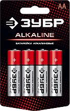 Щелочная батарейка 1.5 В, тип АА, 4 шт, ЗУБР Alkaline