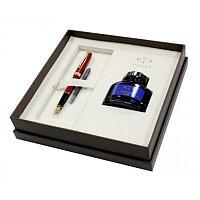 Ручка перьевая Sonnet Laque Red GT в подарочном наборе и флаконом с чернилами Parker