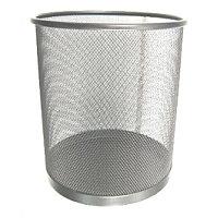 Корзина для бумаг 26.5x28.5см, круглая, сетчатая, металлическая, серебристая Foska