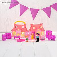 Дом для кукол с фигурками и мебелью, складной