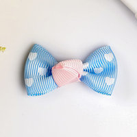 Декор для творчества текстиль 'Бантики в сердечко' набор 8 шт МИКС 2,5х4,5 см