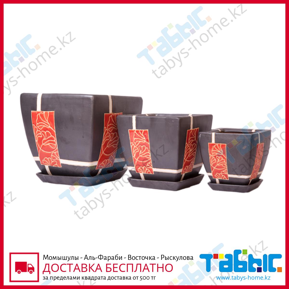 Горшки керамические в комплекте-3шт.-Вьетнам HG 09-1171/3