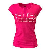 Женская футболка с вырезом для йоги и фитнеса Better Bodies розовая, фото 1
