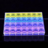 Таблетница органайзер для мелочей и таблеток на 28 ячеек