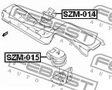 Подушка двигателя задняя (MT) Febest SZM-014 (11710-65D00), фото 2