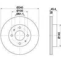 Тормозные диски Nissan Sunny (N13, N14) (87-95, передние, Optimal, D240), фото 1