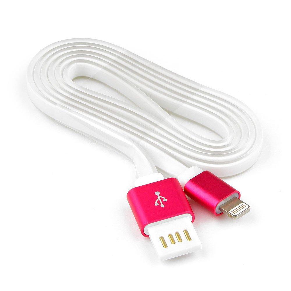 Кабель USB 2.0 Cablexpert CC-ApUSBr1m, AM/Lightning 8P, 1м, мультиразъем USB A, силикон шнур, розов.