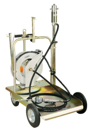 Комплект передвижной для маслораздачи с катушкой М860154, (насос 5:1) с усиленной тележкой (1708003) для 200л. бочек, шлангом 4м и пистолетом с