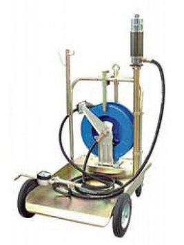 Комплект передвижной для маслораздачи, (насос 5:1) с усиленной тележкой (1708003) для 200л бочек, шлангом 4м и пистолетом с электронным счётчиком