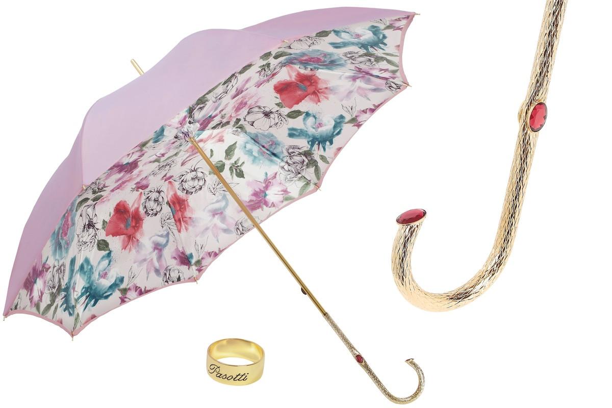 Элитный женский зонт с кристаллами Swarovski. Производство Италия