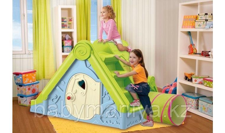 Детский игровой домик Keter FUNTIVITY Фунтик с горкой Голубой/Зеленый Blue/Green (240x174x104h)