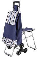 Сумка-тележка хозяйственная С302 Полоски с сиденьем, на колесах