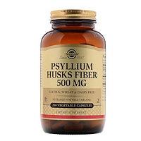 Solgar, Psyllium Husks Fiber, Псиллиум, клетчатка из шелухи семян подорожника 500 мг 200 вегетарианских капсул