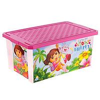 """Ящик для игрушек """"Даша Путешественница"""" с крышкой, 12 л, цвет розовый"""