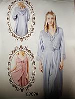Комплект из атласа халат длинный и сорочка