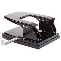 Дырокол OfficeSpace 30л., металлический, черный, с линейкой 180178