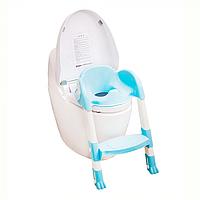 Сиденье для унитаза Pituso с лесенкой голубой DA-6815