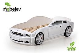 """Кровать-машина """"Мустанг"""" 3D (объемная пластиковая) белая"""
