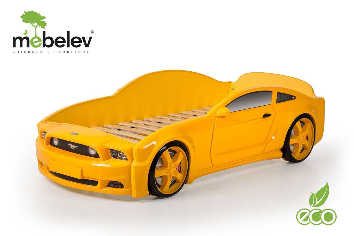 """Кровать-машина """"Мустанг"""" 3D (объемная пластиковая) желтая"""