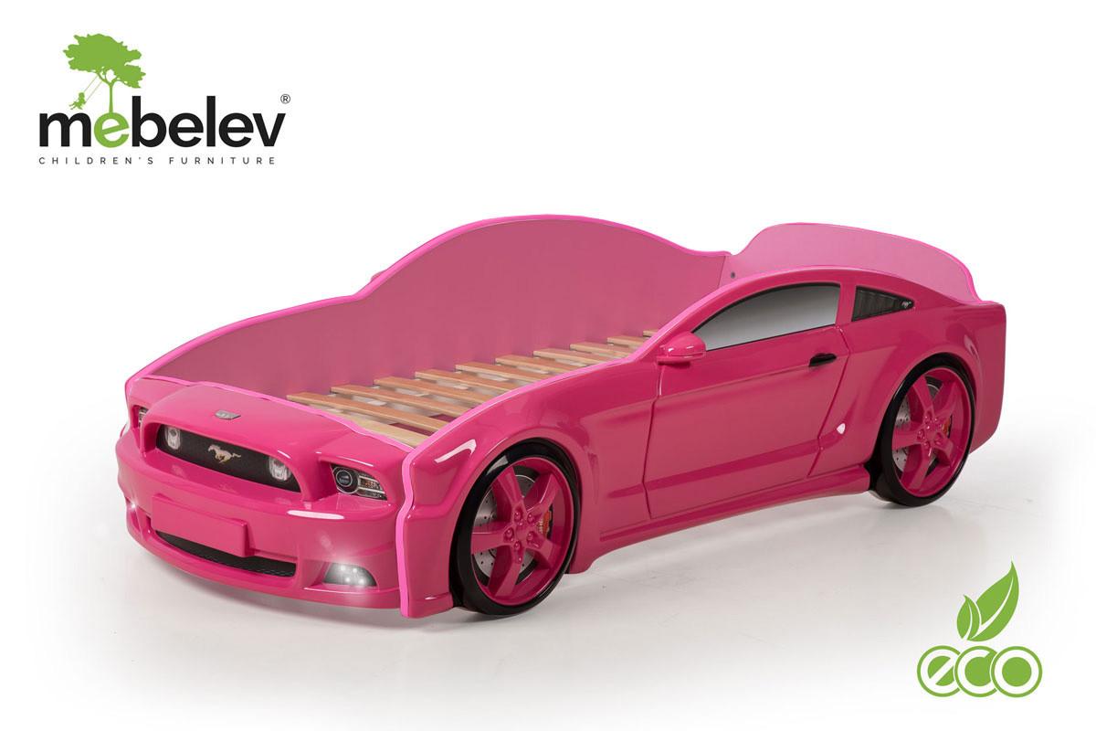 """Кровать-машина """"Мустанг"""" 3D (объемная пластиковая) розовая"""