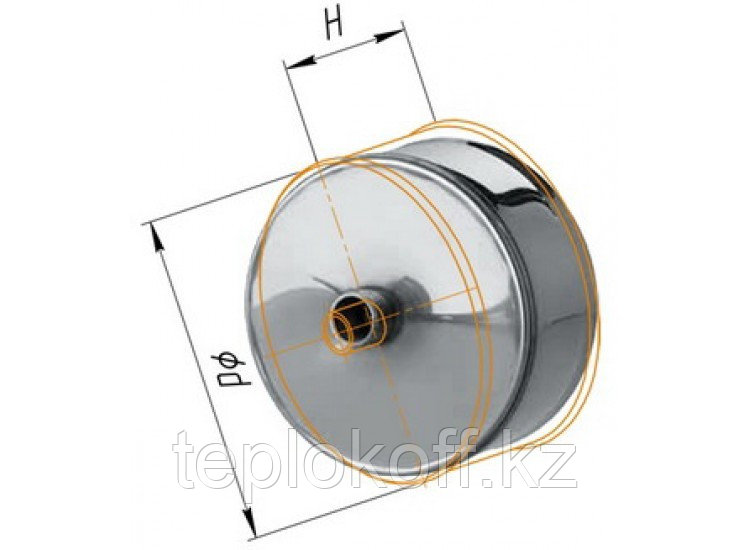 Заглушка М с конденсатоотводом D=200, AISI 430, 0,5 мм (Феррум)