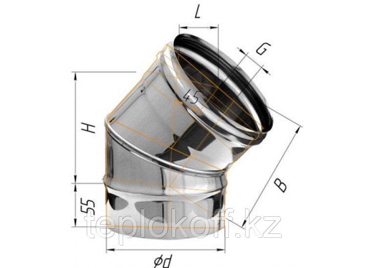 Колено 135°, D=200, AISI 430, 0,8 мм (Феррум)