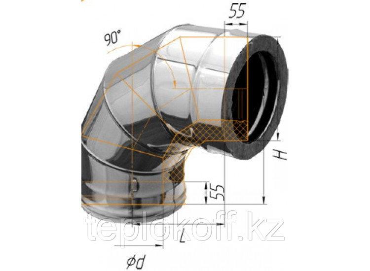Колено двустенное 90°, по воде D=200/280, AISI 430/430, 0,5/0,5 мм (Феррум)