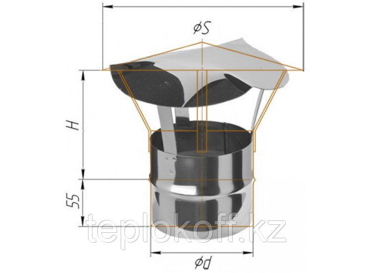 Зонт D=200, AISI 430, 0,5 мм, по воде (Феррум)