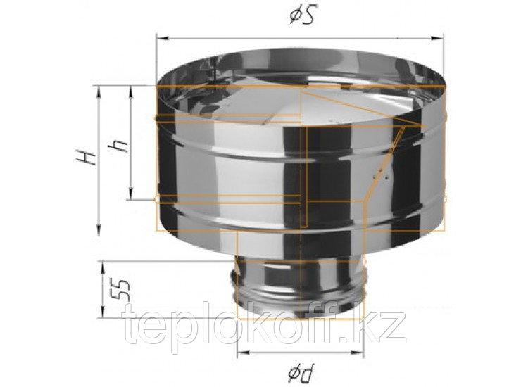 Зонт с ветрозащитой D=200, AISI 430, 0,5 мм, по воде (Феррум)