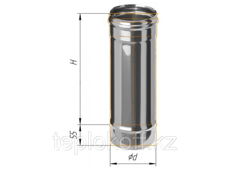 Дымоход L=500, D=115, AISI 430, 0,8 мм (Феррум)