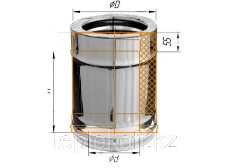 Дымоход двустенный, по воде L=250, D=115/200, AISI 430/430, 0,5/0,5 мм (Феррум)