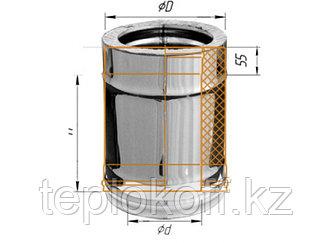 Дымоход двустенный, по воде L=250, D=115/200, AISI 430/430, 0,8/0,5 мм (Феррум)