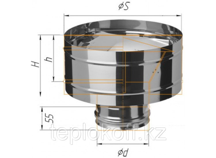 Зонт с ветрозащитой D=115, AISI 430, 0,5 мм, по воде (Феррум)