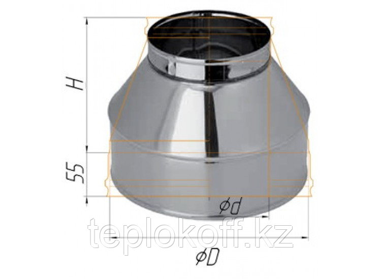 Конус D=115/200, AISI 430/430, 0,5/0,5 мм, по воде (Феррум)