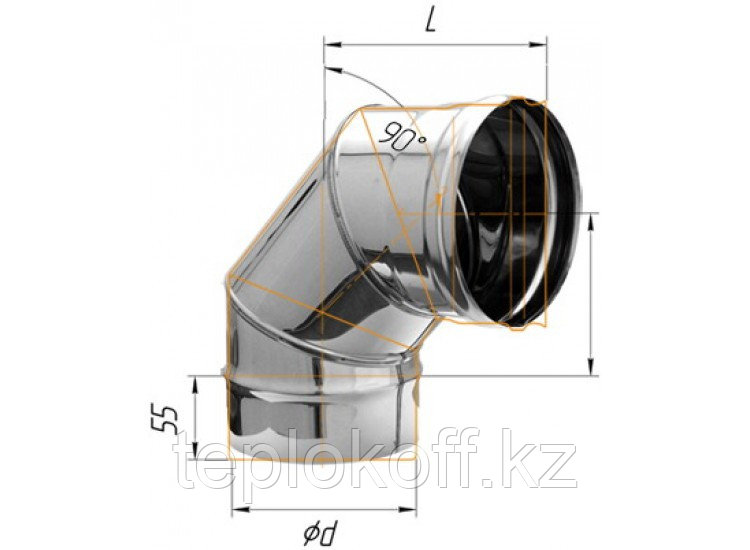 Колено 90°, D=120, AISI 430, 0,5 мм (Феррум)