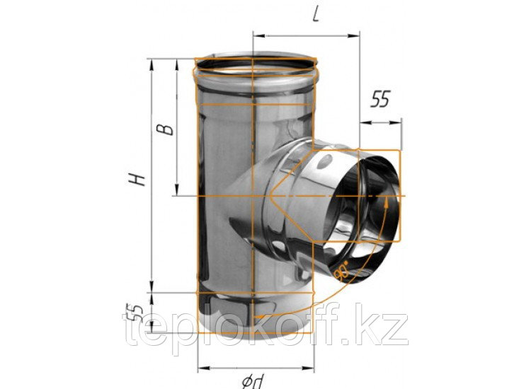 Тройник 90°, D=120, AISI 430, 0,8 мм (Феррум)
