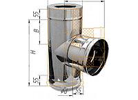 Тройник сэндвич 90°, по воде D=120/200, AISI 430/430, 0,8/0,5 мм (Феррум)